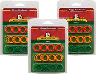 (3 Pack) Happy Hen Treats Spiral Leg Bands for Pets, Size 11
