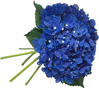 UnikLove 5 Pack Royal Blue Artificial Hydrangea Flowers Stem Fake Silk Hydrangea with Leaves for Wedding Arrangement Home Garden Decor
