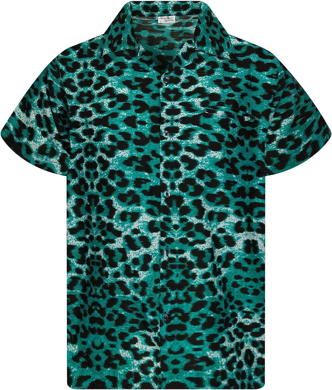 KING KAMEHA Funky Casual Hawaiian Shirt Kids Boys Girls Pocket Very Loud Shortsleeve Unisex Leopard Print 2-14 Years