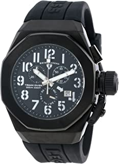 Men's 10542-BB-01-SA Trimix Diver Chronograph Black Dial Black Silicone Watch