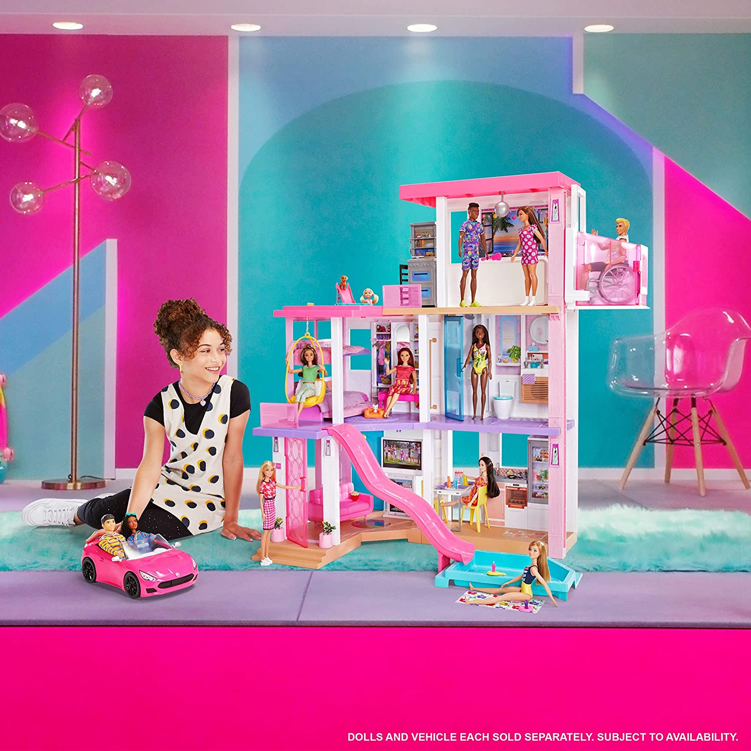 Barbie Dreamhouse (3.75-ft) 3-Story Dollhouse Playset with Pool & Slide,...