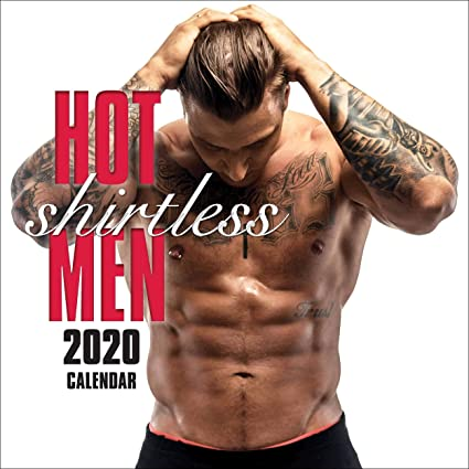 Calendario de pared cuadrado de 20 a 16 meses para hombres sin camisa