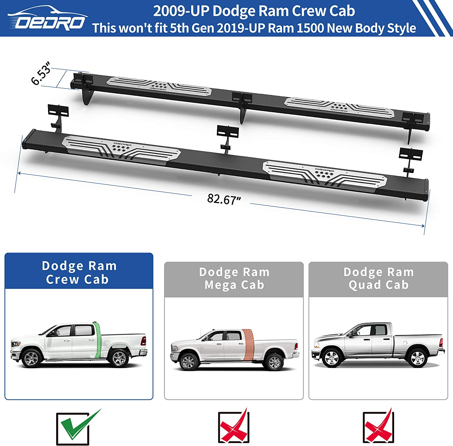Running Boards OEDRO 6.5 Running Boards Compatible with 2009-2018 ...