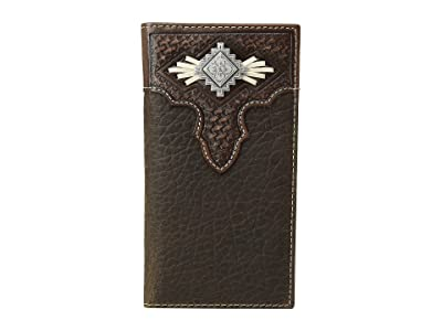 M&F Western Aztec Concho with Lace Rodeo Wallet (Medium Brown) Wallet Handbags