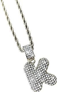 Exo Jewel CZ Diamond Bubble Alphabet Letter Pendant Necklace with 24