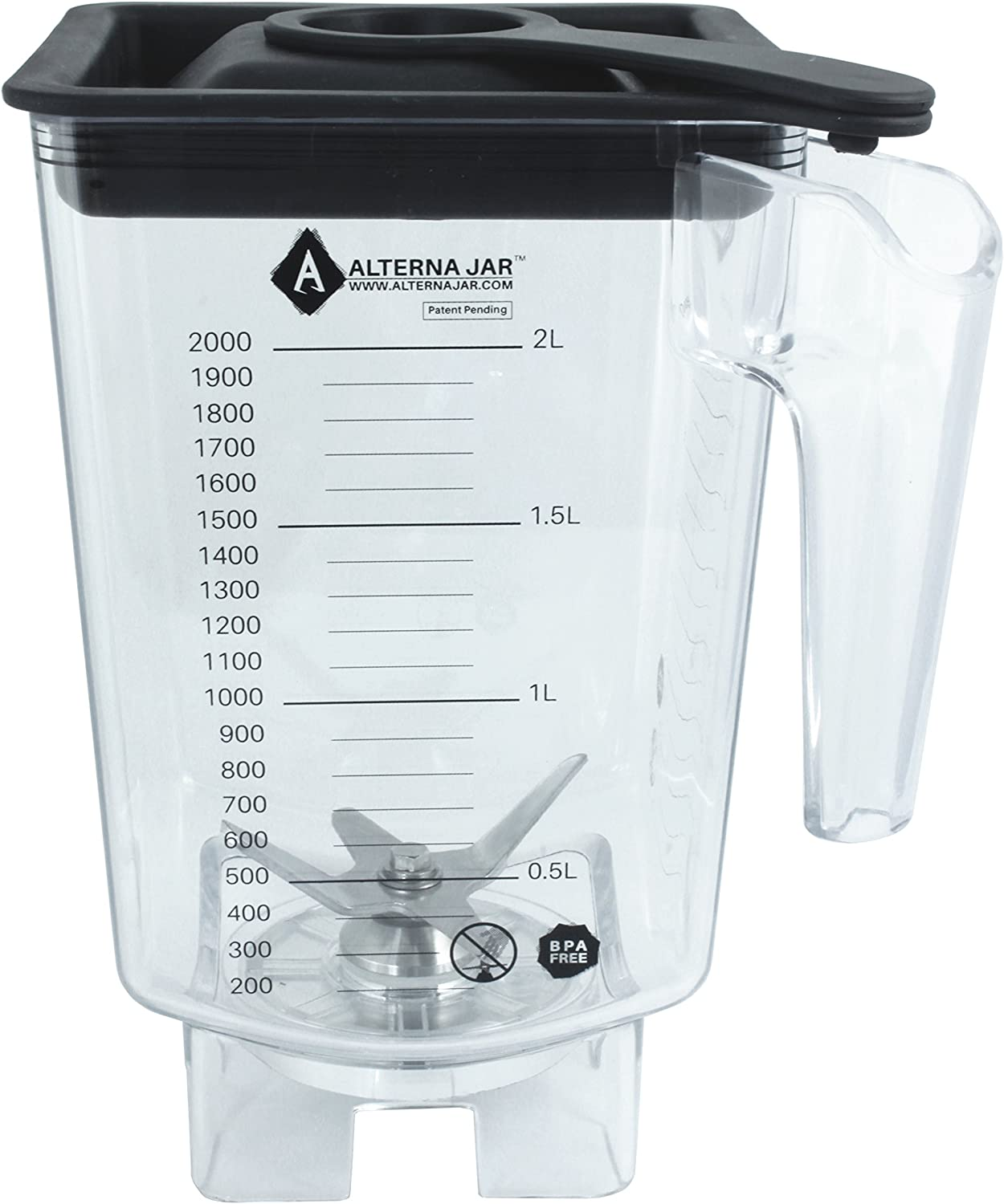 Alterna Jar - Aftermarket Replacement for Blendtec Jar – Fits Every Blendtec Blender Base - Removable Replaceable Blade Assembly for Cheap, Easy Repairs -Quality One-Piece Lid that Supports a Ta
