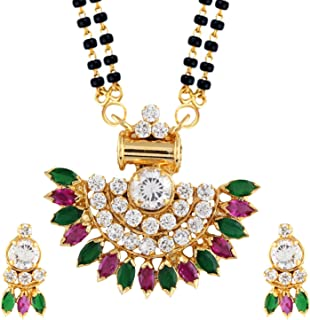 Indian Bollywood Traditional Gold Plated Ruby Emerald/Color CZ Stone Mangalsutra Pendant Necklace Jewelry with Chain for Women