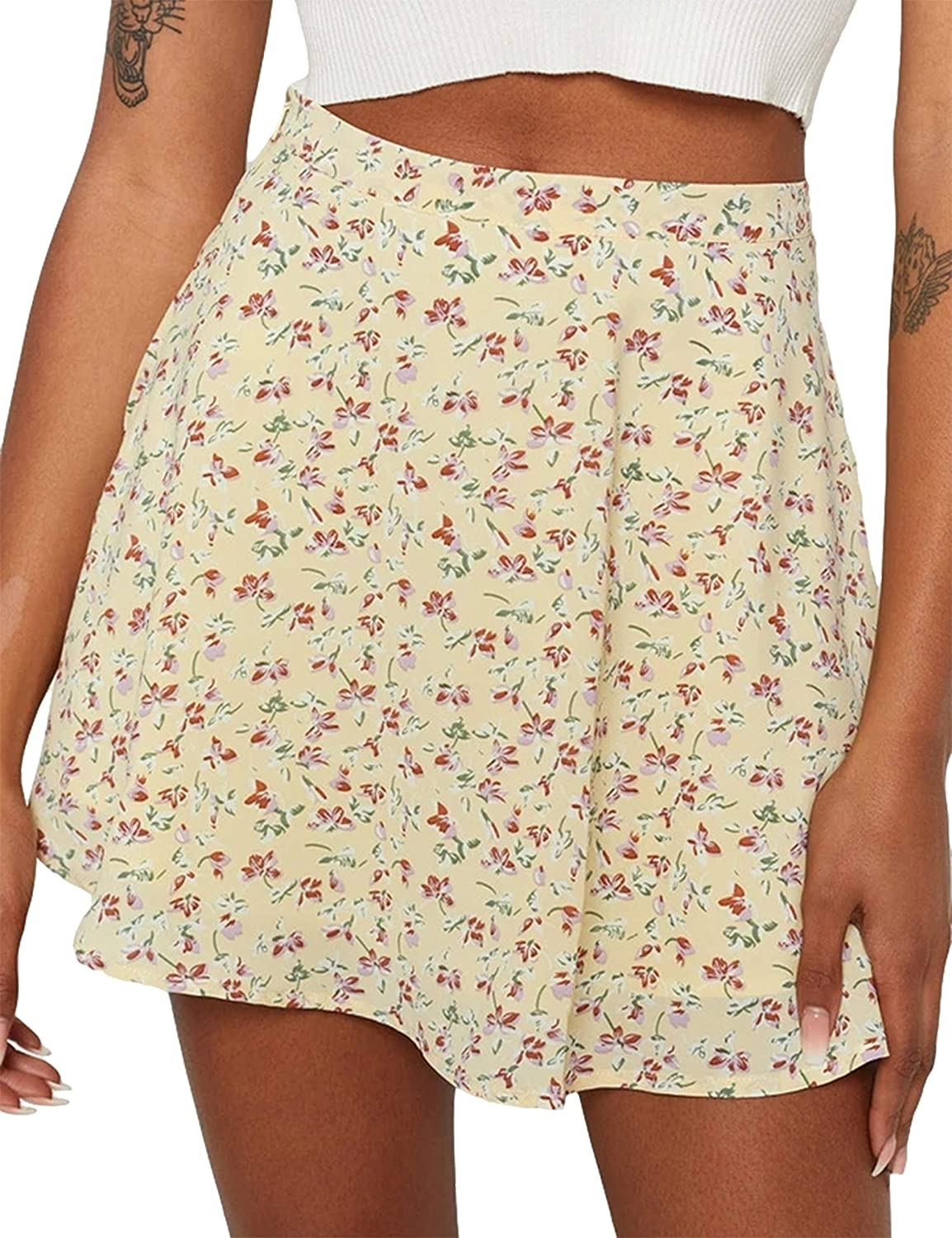Uaneo Womens Printed High Waist A Line Casual Mini Skater Skirts(Yellow-L)