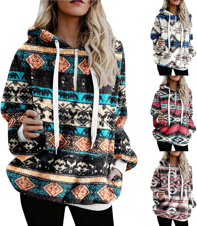 Women's Boho Plush Hoodies Los Angeles Mall Winter Fleece Warm Hooded Boston Mall Double Side