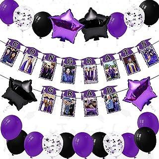 2020 Purple Graduation Party Decoration Favor Set -Congrats Grad Graduation Cap Photo Display Banner Stars Balloons Photo ...