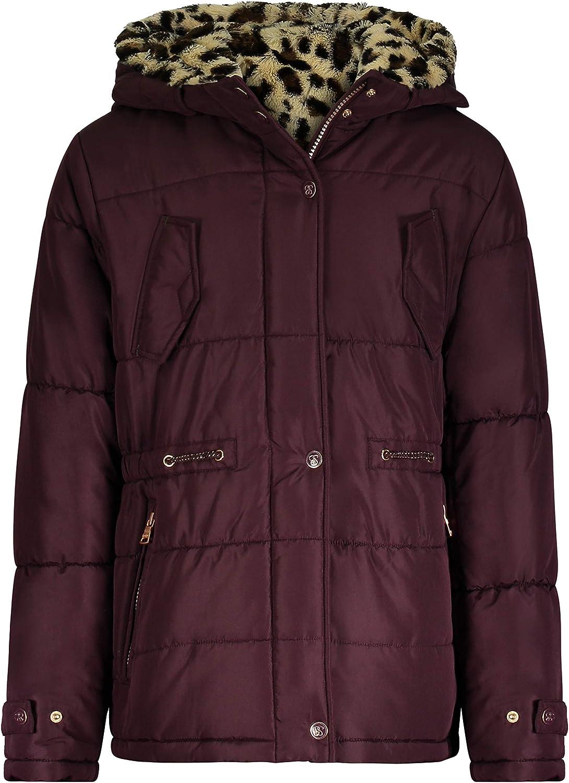 Jessica Simpson Girls' Heavyweight Jacket with Cozy Hood Trim, Burgundy/Leopard, 10/12