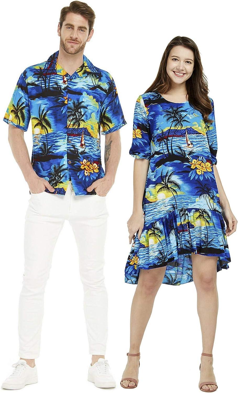 Couple Matching Hawaiian Luau Shirt 3/4 Sleeve Ruffle Dress in Sunset Blue