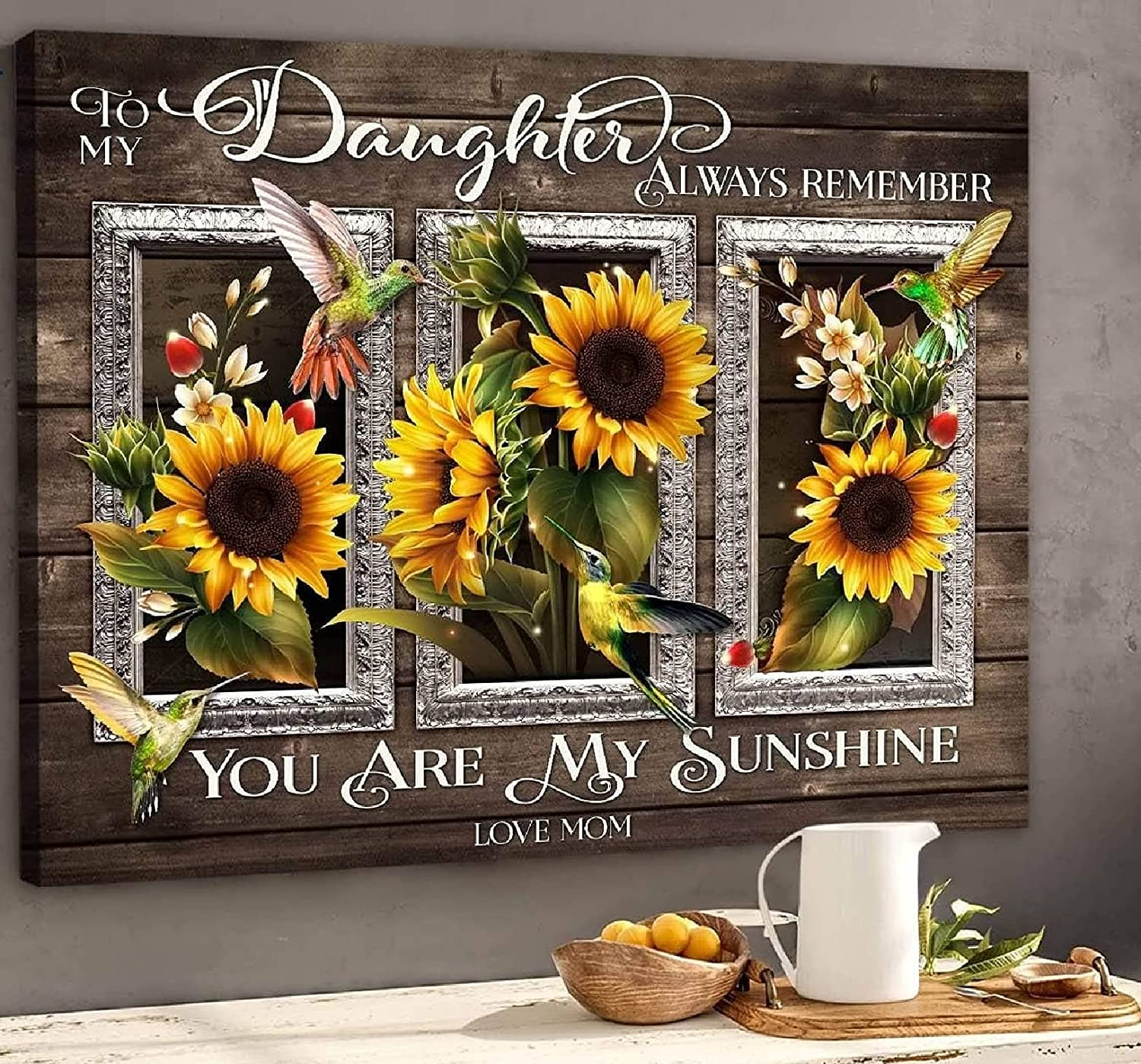 100% quality warranty Mom gift To Daughter My Sunshine Hummingbird Lovers Sunflower Poster