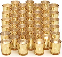 DARJEN 108 Pcs Gold Votive Candle Holders for Table - Mercury Glass Votives Gold Candle Holder - Tealight Candle Holder fo...