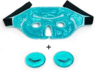 Eye Mask with Gel Beads, PLUS Eye Pads, Great for Pain Relief, Reusable Hot and Cold Eye Mask Therapy Compress