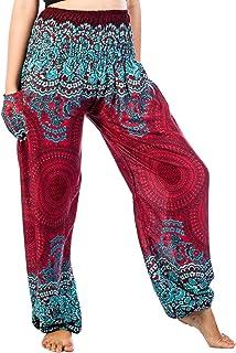 LOFBAZ Harem Hippie Pants for Women`s Yoga Floral Boho Genie Aladdin Clothing