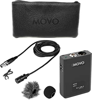 Movo LV22C XLR Lavalier Cardioid Condenser Microphone with Phantom Power Supply Body Pack, 12mm Mic Capsule, Foam and Deadcat Windscreens, Deluxe Case