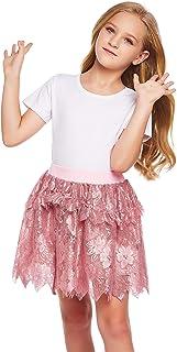 Bricnat Tüllröcke Mädchen Rock mit Blumen Spitze Kinder Prinzessin Röcke Minirock Schwarz Weiß Dunkelrosa