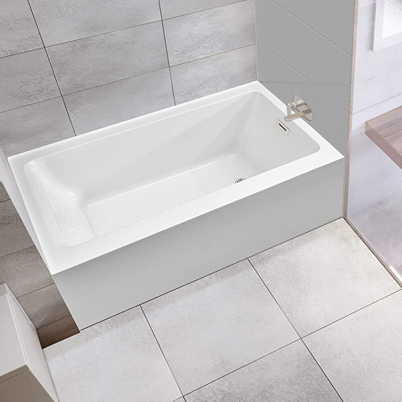 WOODBRIDGE 60 Inch Alcove Drop In Tub With Apron Acrylic Bathtub With Right Hand Drain And Overflow Holes White B 0019