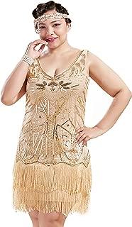 Women's Plus Size Flapper Dresses 1920s V Neck Beaded Fringed Great Gatsby Dress