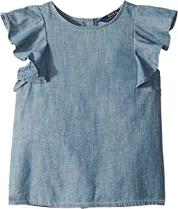 Chambray Flutter-Sleeve Top (Little Kids)
