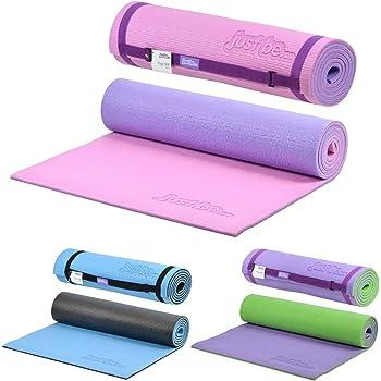 just be... Tappetino Fitness - Tappetino Yoga - Tappeto da Palestra Antiscivolo - Materassino da Campeggio con Cinghia Tracolla Tappeto Pilates 180 cm x 60 cm - Spessore 10 mm Rosa/Viola