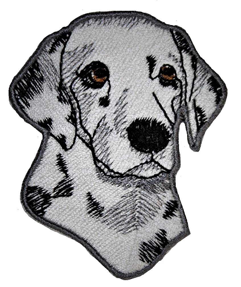 A-10, Dalmatian Dog Patch Animals Embroidered Iron on Pieces Applique Patch Dog Approx. 2.3 x 2.8 inches (6 x 7.2 cm)