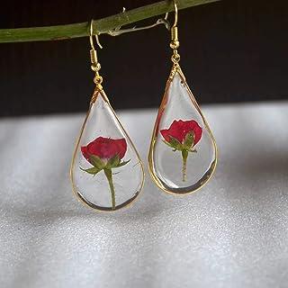 Rosso Rosa Vero Fiore Goccia d'acqua Resina Placcato Oro Orecchini Goccia e pendenti