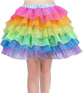 Rainbow Tutu Skirt for Women Unicorn Skirts Colorful Tulle Tiered Dancing Petticoat for Party, Halloween, Ballarina