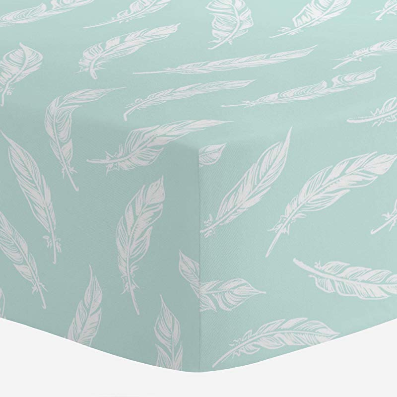 Carousel Designs ICY Mint And White Hand Drawn Feathers Crib Sheet Organic 100 Cotton Fitted Crib Sheet Made In The USA
