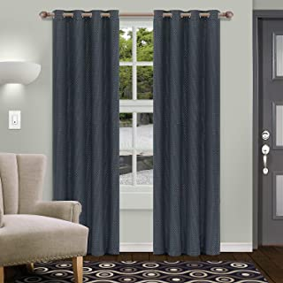 Superior Shimmer Blackout Curtain Set of 2, Thermal Insulated Panel Pair with Grommet Top Header, Chic Metallic Embellishe...