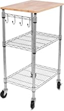 Internet's Best 3-Tier Kitchen Cart on Wheels - Kitchen Island Trolley with Locking Wheels - Appliances Microwave Stand - Removable Natural Wood Cutting Board - 4 Hooks Organizer Stainless Steel