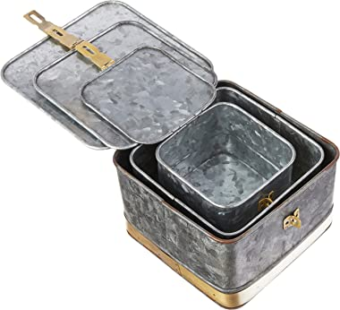 Creative Co-Op DF2376 Decorative Galvanized Lids & Brass Accents (Set of 3 Sizes) Metal Boxes, Silver