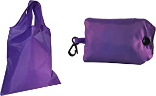 Reusable Shopping Bags Smart Grocery Tote Bags Carrier with Key-Ring Foldable Collapsible Attached Pouch Washable, Durable, Lightweight Eco-Friendly (Purple)