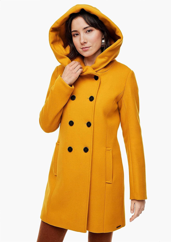 s.Oliver Damen Wollmix-Mantel mit großer Kapuze Yellow