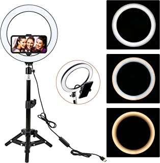 """ZoMei 10"""" Selfie LED Ring Light with Tripod Stand &Cell Phone Holder for Live Stream/Makeup/YouTube Video,Dimmable Beauty Mini Camera Photography Ringlight for iPhone Xs Max XR Android"""