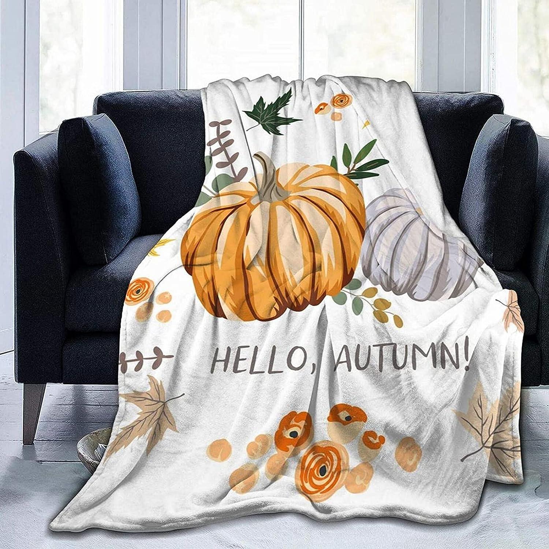 Fall Autumn Pumpkins Flannel Blanket Lightweig Max 2021 model 85% OFF Super Soft Throw
