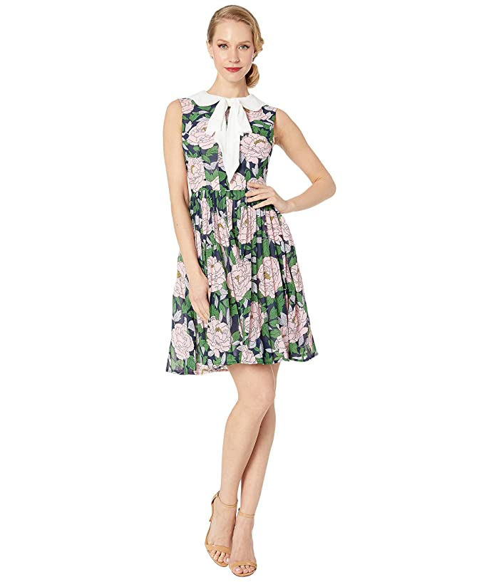 6174f22e3956a7 Unique Vintage 1960s Style Marin Flare Dress (Pink Floral/White Bow) Women