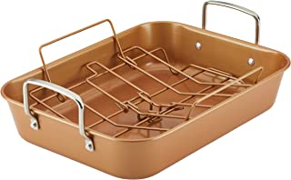 Ayesha Curry 47792 Nonstick  Roaster / Roasting Pan with Rack - 11 Inch x 15 Inch, Brown