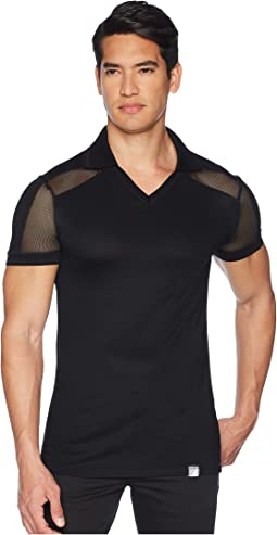Sheer Paneled V-Neck Polo