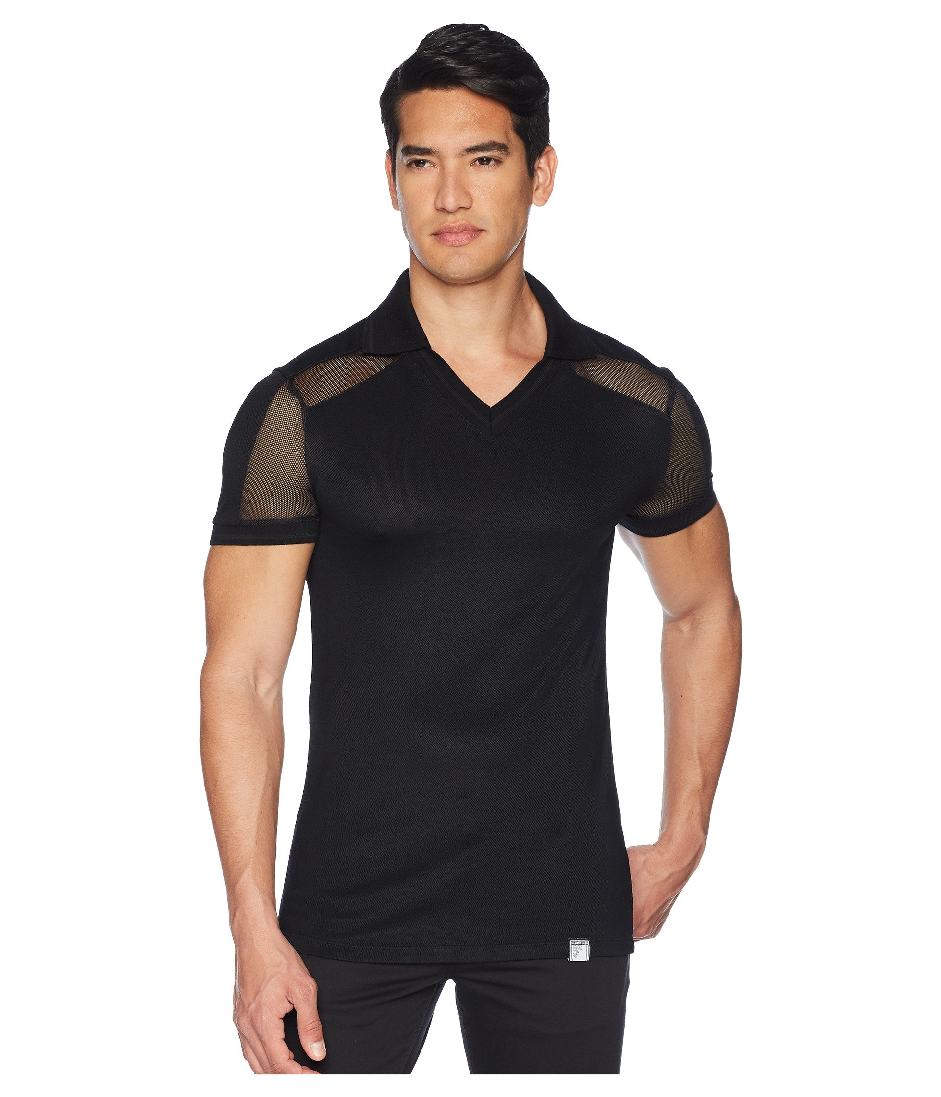 Camiseta Tipo Polo para Hombre Versace Collection Sheer Paneled V-Neck Polo  + Versace en VeoyCompro.net