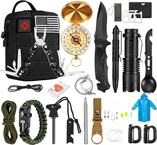 Survival Kit 32 in 1, Gifts for Men Dad, Professional Survival Gear and Equipment Kit with Molle Pouch for Fishing Hunting Camping Adventures