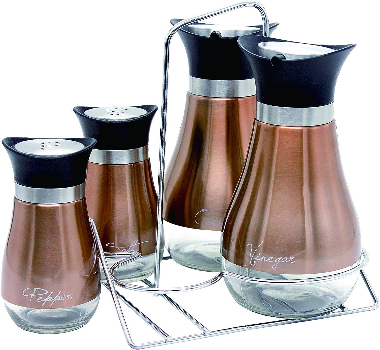 Le Regalo 5 Piece Condiment Set Kitchen Storage Salt And Pepper Oil And Vinegar Dispenser And Rack Copper Kitchen Dining