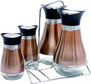 Le Regalo 5 Piece Condiment Set, Kitchen Storage, Salt and Pepper, Oil and Vinegar Dispenser and Rack, Copper