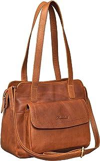 Benthill Handtaschen Damen Leder - Schultertasche mit Reißverschluss - Vintage Ledertasche/Umhängetasche - Shopper Schulte...