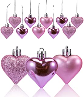 """Valentines Day Pink Shiny Hearts 2.25/"""" Ornaments Set of 10 Decorations  #135"""