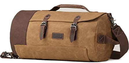 Troop London Heritage Canvas Leather Travel Duffel Bag | Canvas Holdall | Gym Bag TRP0444 (Camel)