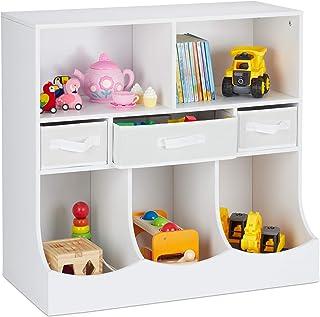 Relaxdays Kinderregal étagère pour Enfants pour Jouets et Livres, HLP : 75 x 80 x 40 cm, 8 Compartiments, Filles et garçon...