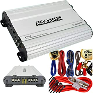 $69 » Audiobank P1502 2 Channels Amplifier 2 Ohm Stable 1500 Watts Peak Power with LED Indicator + Complete 1500 Watts 8 Gauge C...