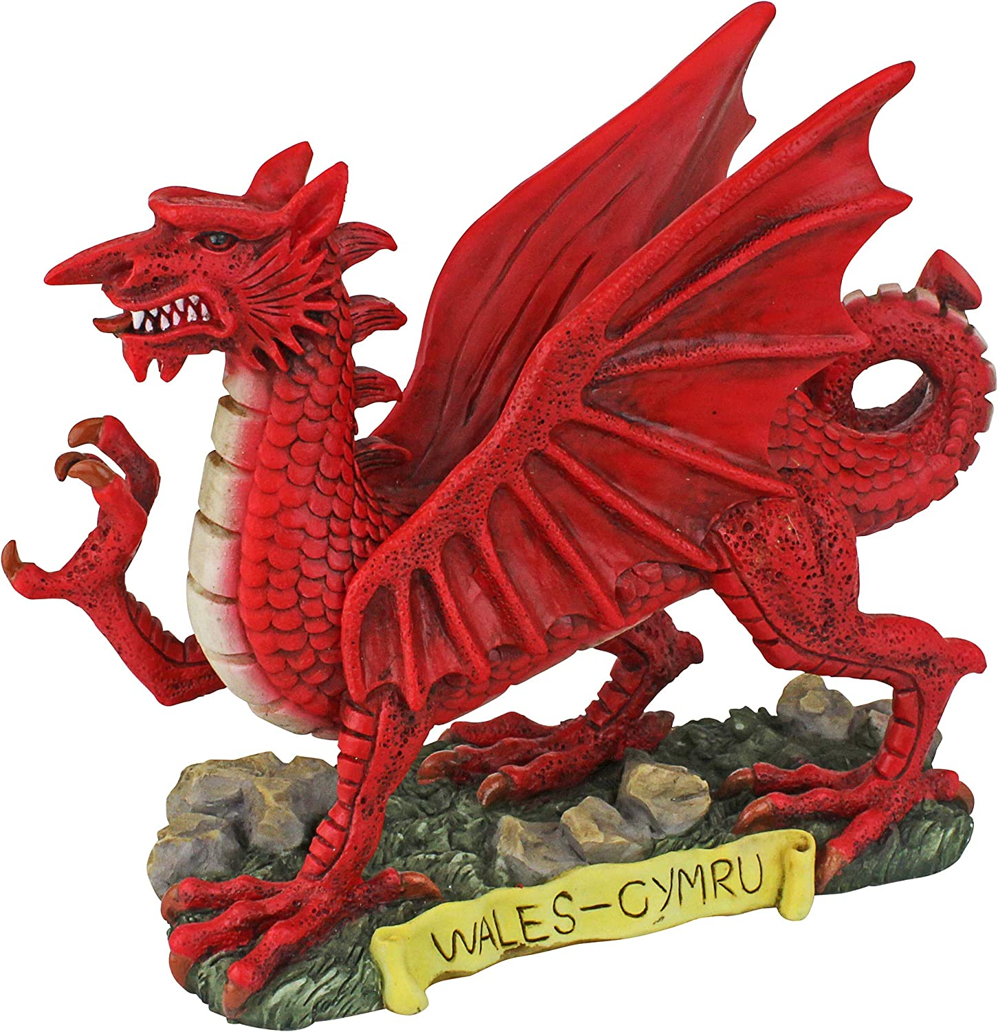 Design Toscano The The Red Welsh Dragon Statue Collection  Desktop Walking Stick, Full color